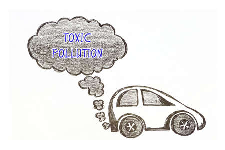 Bad Ecology concept about TOXIC POLLUTION with sign on the piece of paper.
