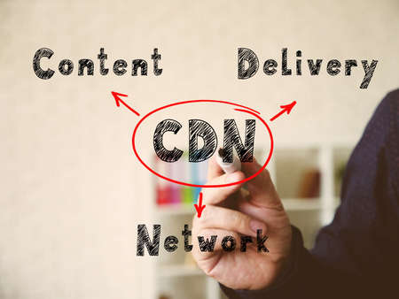 Text CDN Content Delivery Network on Concept photo. Fashion and modern office interiors on an background.