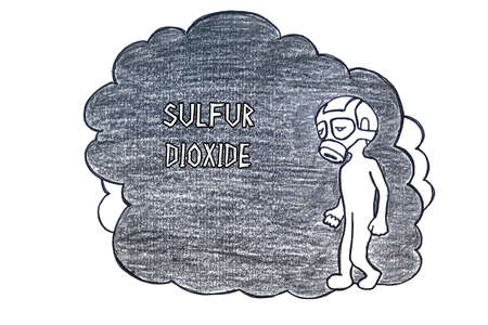 Bad Ecology concept meaning SULFUR DIOXIDE with inscription on the sheet. Stock Photo