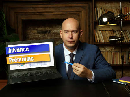 Financial concept about Advance Premiums with phrase on laptop.