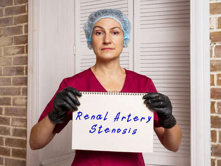 Medical concept about Renal Artery Stenosis with phrase on the piece of paper. Archivio Fotografico