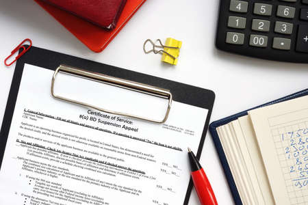 SBA form Certificate of Service: 8 (a) BD Suspension Appeal