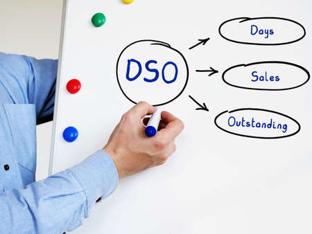 The inscription DSO Days Sales Outstanding. Hand holding a marker pen to writeon the white board.