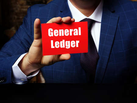 Conceptual photo about General Ledger with written text red business card.
