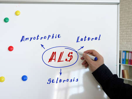 ALS Amyotrophic Lateral Sclerosis note. Male hand with marker write on the white board.