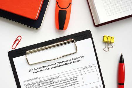 SBA form 1010-NHO 8 (a) Business Development (BD) Program Application Native Hawaiian Organization-Owned Concern Stock fotó