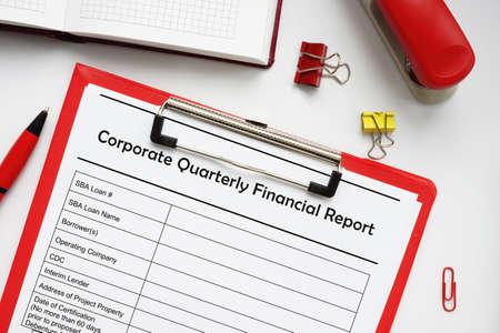 SBA form 468 4 Corporate Quarterly Financial Report Stock fotó
