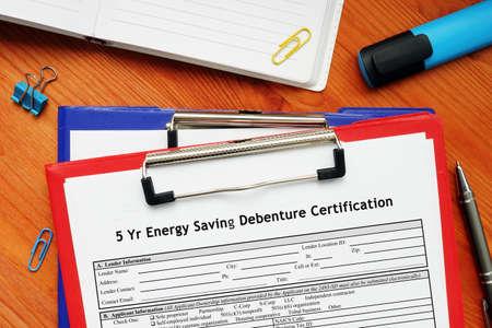 SBA form 2434 5 Yr Energy Saving Debenture Certification
