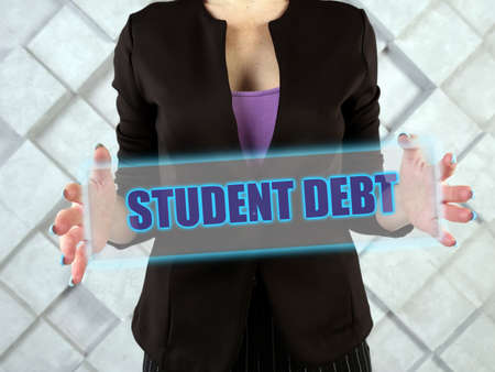 STUDENT DEBT text in futuristic screen. Student debt refers to loans used to pay for college tuition that are due after the student graduates or leaves school