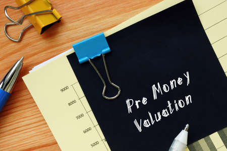 Pre Money Valuation sign on the piece of paper.