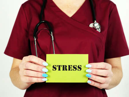 Healthcare concept meaning Stress with sign on the page.
