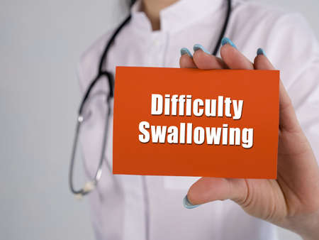 Healthcare concept meaning Difficulty Swallowing with sign on the piece of paper.