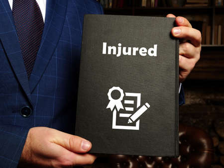 Juridical concept about Injured with sign on the page.