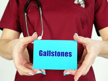 Medical concept about Gallstones with inscription on the page. 版權商用圖片