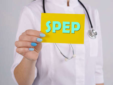 Healthcare concept about Serum Protein Electrophoresis SPEP with phrase on the sheet. Stock Photo