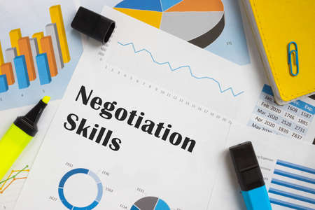 Business concept meaning Negotiation Skills with phrase on the piece of paper.