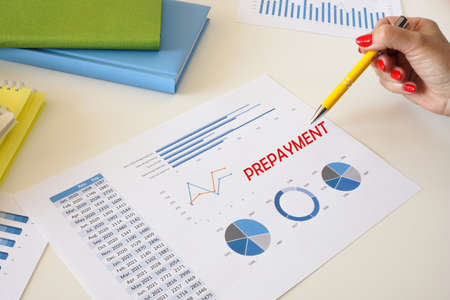 Financial concept meaning PREPAYMENT with phrase on the page.