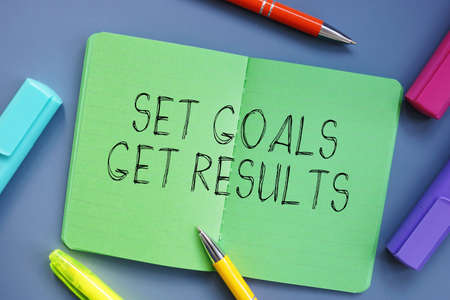 Business concept meaning Set Goals Get Results with sign on the piece of paper.