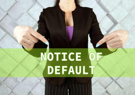 NOTICE OF DEFAULT text in virtual screen. Stockfoto