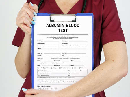 Healthcare concept about ALBUMIN BLOOD TEST with sign on the page.