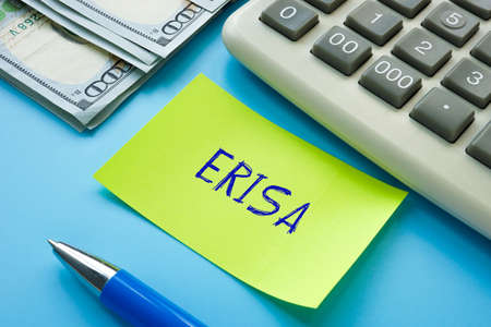 Business concept about ERISA Employee Retirement Income Security Act with sign on the page. Stockfoto