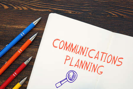 Business concept meaning Communications Planning with phrase on the page.