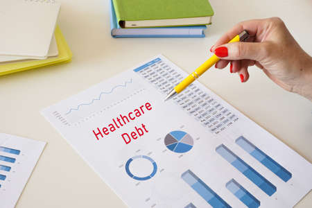 Financial concept meaning Healthcare Debt with phrase on the piece of paper.