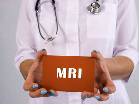 MRI Magnetic Resonance Imaging sign on the page. Stockfoto