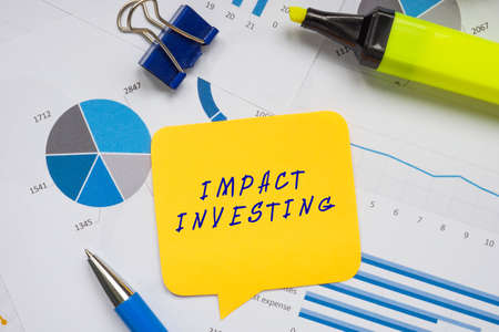 Financial concept about IMPACT INVESTING with phrase on the page.