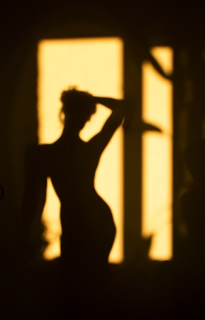 silhouette of girl on a background Stock Photo
