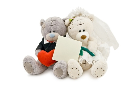 Wedding Bears with Copy Space on white background Stock Photo - 10032089