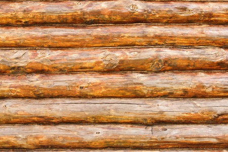 summer camp: Wooden wall from logs in decline beams Stock Photo