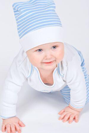 Young boy on floor Stock Photo