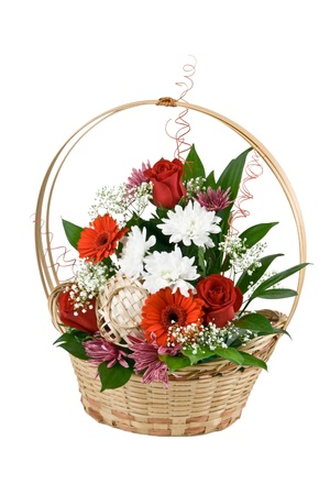 Natural flowers in basket with scenery isolated on white background photo