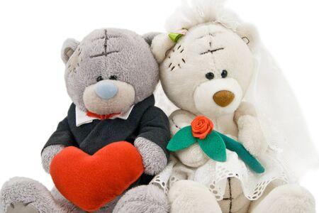 Wedding Bears on white background photo