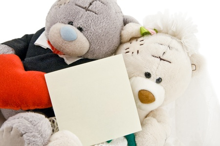 Wedding Bears with Copy Space on white background Stock Photo - 10373219