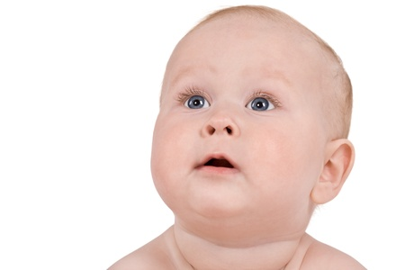 Baby face isolated on  white background photo