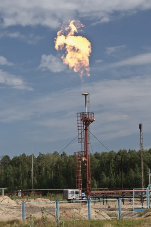 Gas flame on background blue sky Stock Photo - 10470152