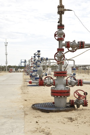 non urban scene: Wellhead in the oil and gas industry