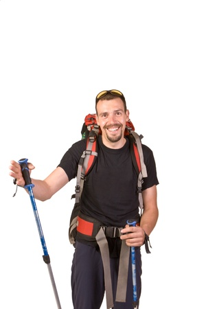 black head and moustache: Hiking man isolated on white background Stock Photo