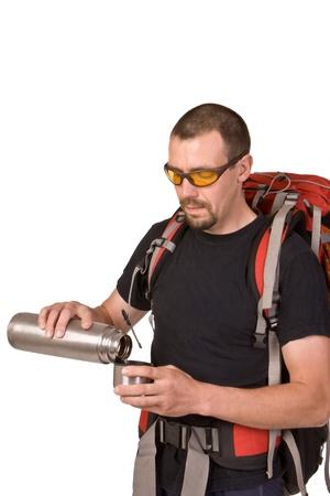 Hiking man isolated on white background Stock Photo - 10594587