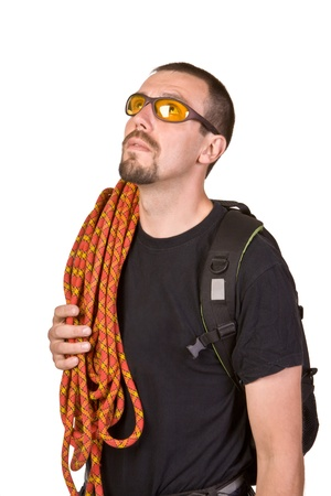 black head and moustache: Climber with rope on shoulder isolated on white background