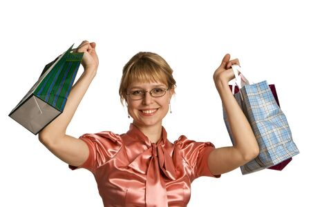 Young woman holding several bags photo