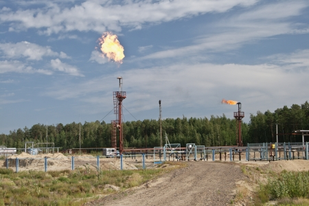 oil park: Burning gas flare on the tower - the industry zone. Stock Photo