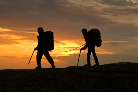 Any mountaineer walking in mountain photo