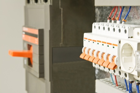 The electric orange switch close up with the selected focus Standard-Bild