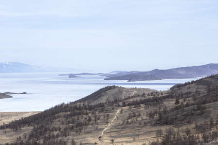 twisting: The twisting coast of Lake Baikal with hills