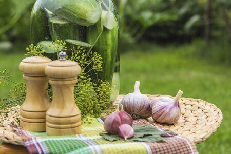 pepperbox: Pickles, pepper, salt, garlic, fennel on a table in a garden