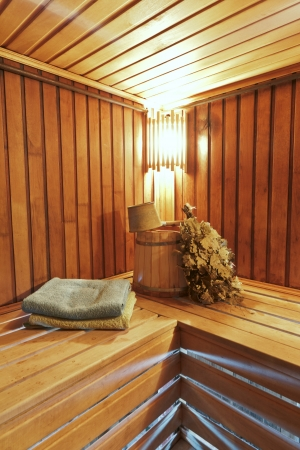Sauna with ready accessories for washing and ultra-violet light
