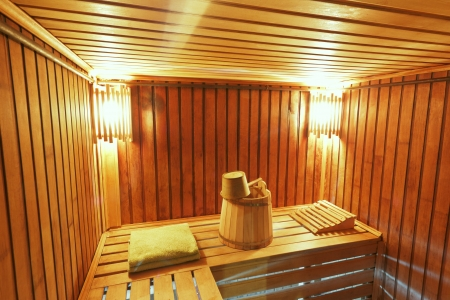 Sauna ready accessories - broom, tub, poltenets and scoop Stock Photo